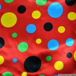 Satin polyester imprimé gros pois fond rouge