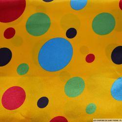 Satin polyester imprimé gros pois fond jaune