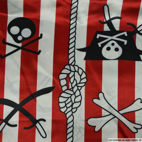 Satin polyester imprimé pirate