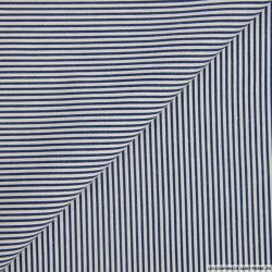 Coton rayé marine et blanc