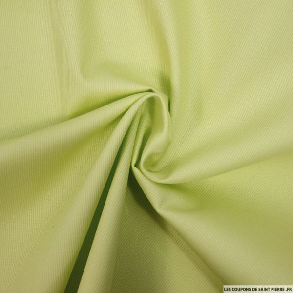 Tissu Piqué de coton milleraies uni vert anis