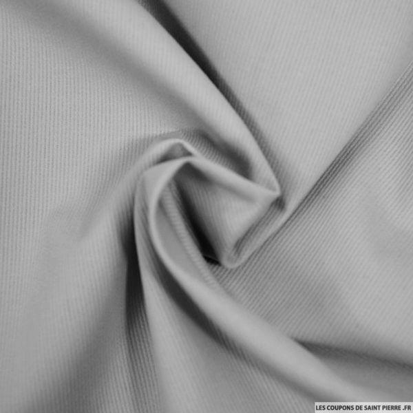 Tissu Piqué de coton milleraies uni gris