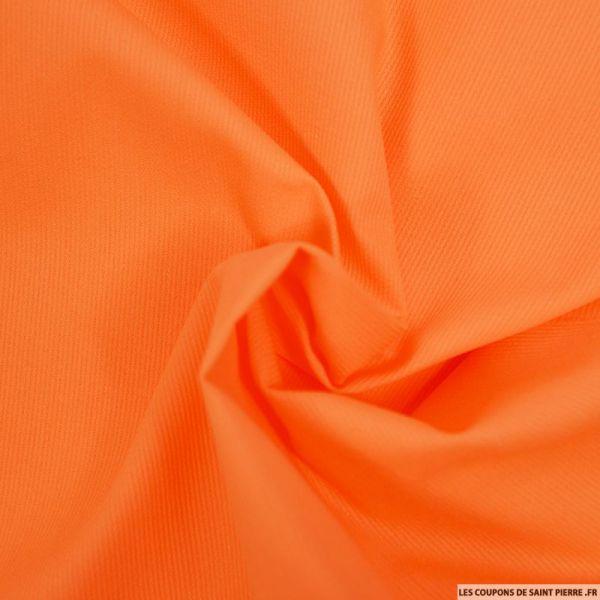 Tissu Piqué de coton milleraies uni orange