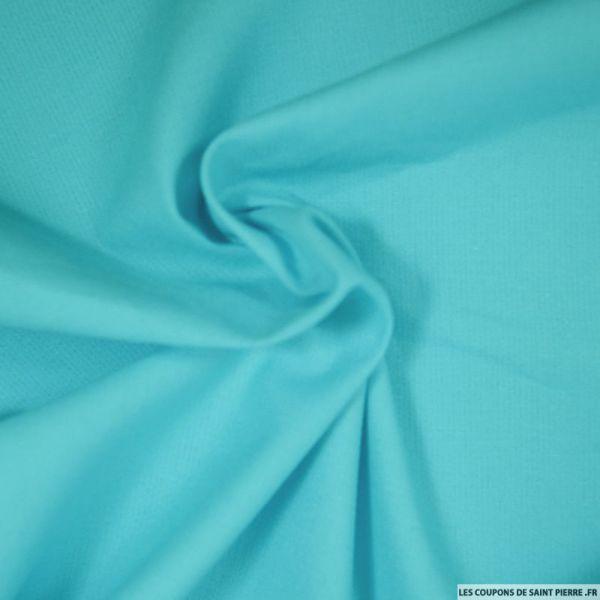 Tissu Piqué de coton milleraies uni bleu turquoise