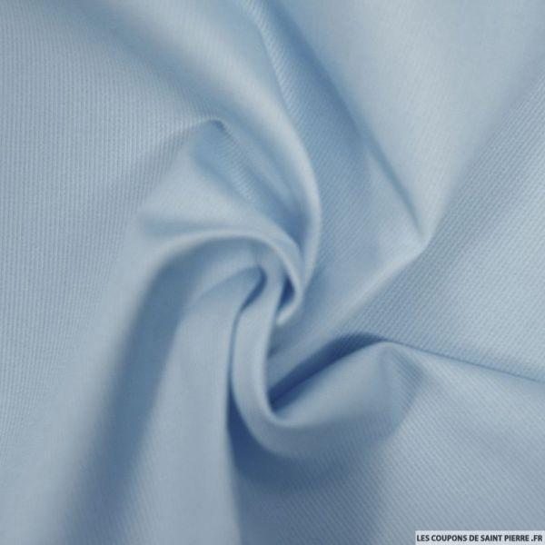 Tissu Piqué de coton milleraies uni bleu ciel