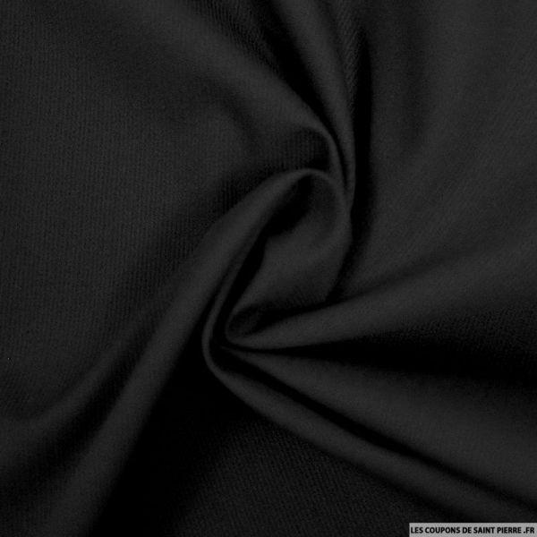 Tissu Piqué de coton milleraies uni noir