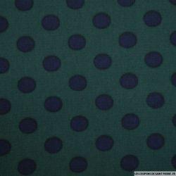 Microfibre Polyester imprimé pois fond vert