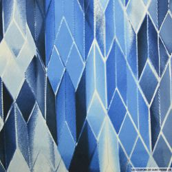 Maille maillot de bain imprimé arlequin bleu