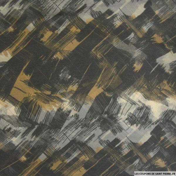 Mousseline crinkle imprimée urbain gris et marron glacé