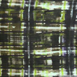 Pongé de soie imprimé urbain vert et violet