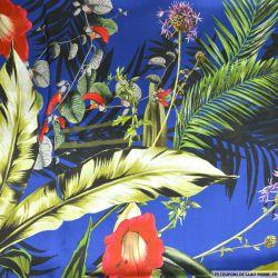 Satin de soie imprimé tropical fond bleu