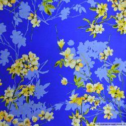 Satin de soie imprimé jardin japonais bleu