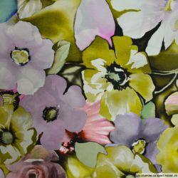 Satin de soie imprimé fleurs bohème multicolore