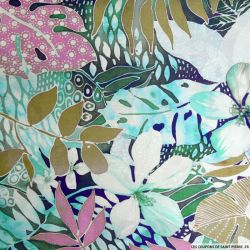 Satin de soie imprimé hawai vert et rose