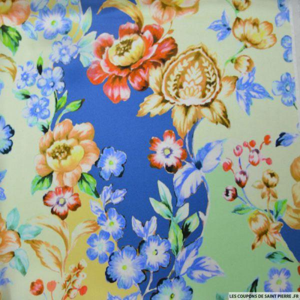 Satin de soie imprimé fleurs pistache et bleu