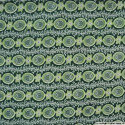 Polycoton imprimé frise fleurs mojito