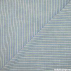 Chambray de coton rayé bleu azur