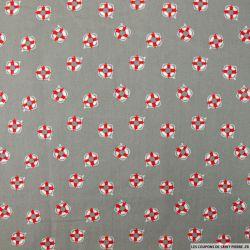 Coton imprimé marin fond gris