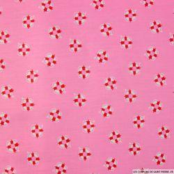 Coton imprimé marin fond rose