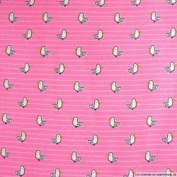 Coton imprimé Piou Piou fond rose