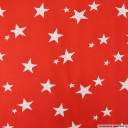Coton imprimé étoiles blanches fond rouge