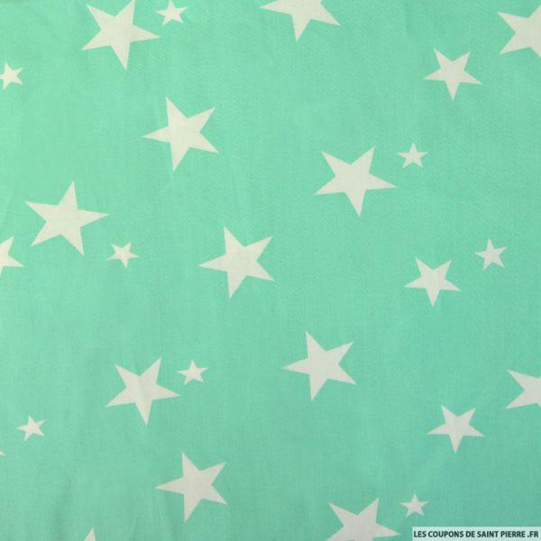Coton imprimé étoiles blanches fond vert