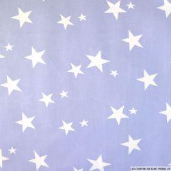 Coton imprimé étoiles blanches fond violet