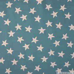 Coton imprimé smiley étoile fond paon