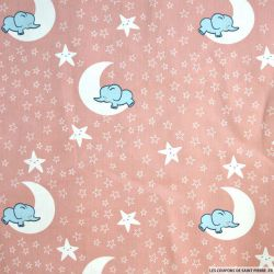 Coton imprimé nuages d'éléphants fond bleu