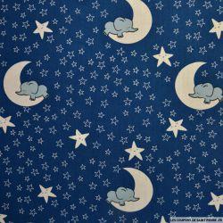 Coton imprimé lunes d'éléphants fond bleu