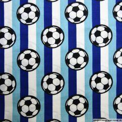 Coton imprimé football rayures bleu