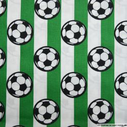 Coton imprimé football rayures vertes