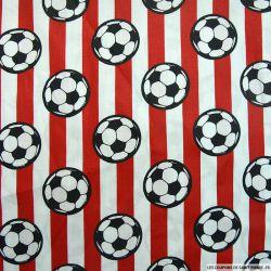 Coton imprimé football rayures rouge