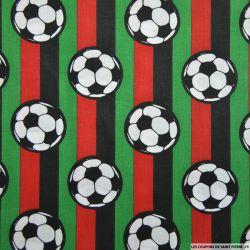 Coton imprimé football rayures rouge et vertes