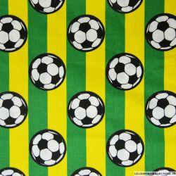 Coton imprimé football rayures jaunes et vertes