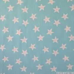 Coton imprimé smiley étoile fond vert d'eau