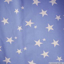 Coton imprimé étoiles blanches fond bleu horizon
