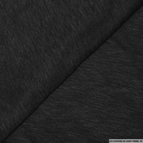 Tissu maille 100% lin noir chiné