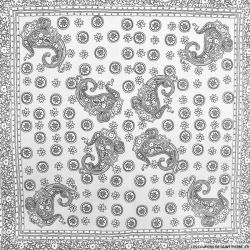 Piqué de coton imprimé carreaux de ciment gris et blanc cassé