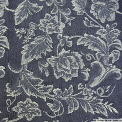 Gabardine de coton fleurs violettes et jaunes fond blanc cassé