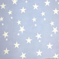 Coton imprimé étoiles blanches fond lavande