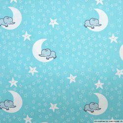 Coton imprimé lunes d'éléphants fond vert d'eau