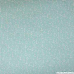 Coton imprimé ancre fond vert d'eau