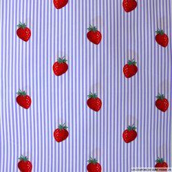 Coton imprimé fraises rayés violet
