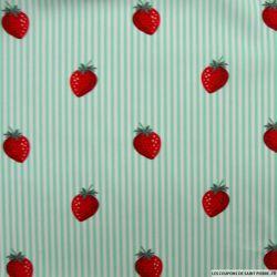 Coton imprimé fraises rayés vert d'eau