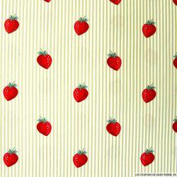 Coton imprimé fraises rayés beige