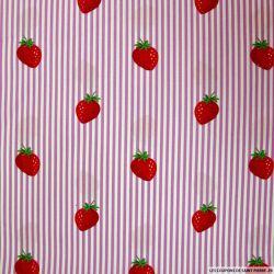 Coton imprimé fraises rayés parme