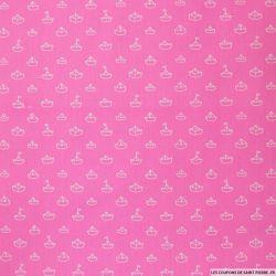 Coton imprimé bateau fond rose