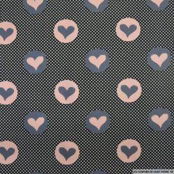 Coton imprimé coeur rose et gris à pois