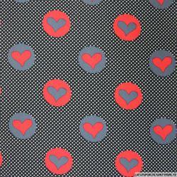Coton imprimé coeur rouge et gris à pois